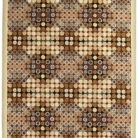 Art Deco Beige, Brown, Gray and Cream Dots Hand Knotted Wool Runner N10753