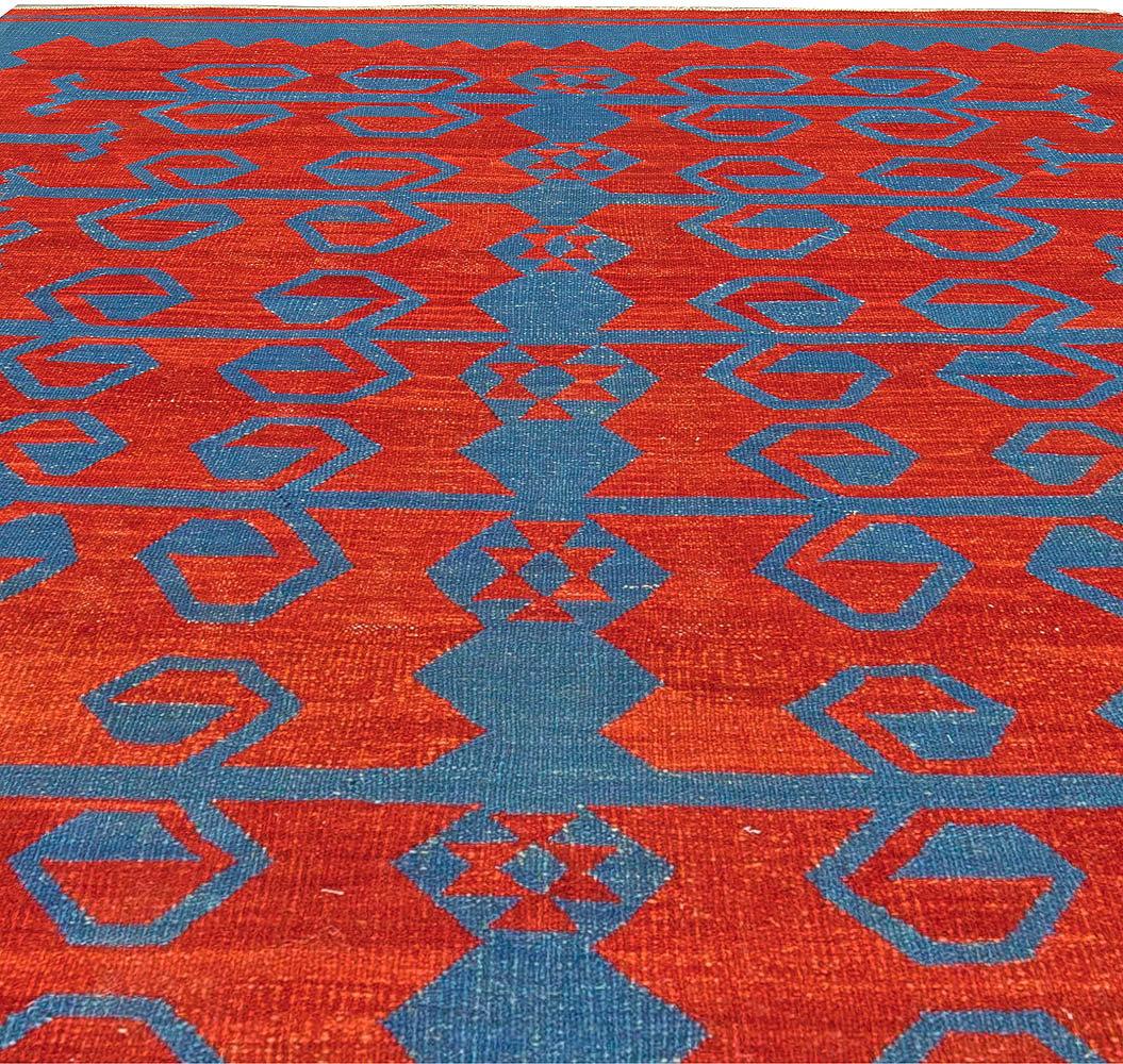 Bright Red and Blue Dangelo Hand Knotted Wool Kilim Rug N10758