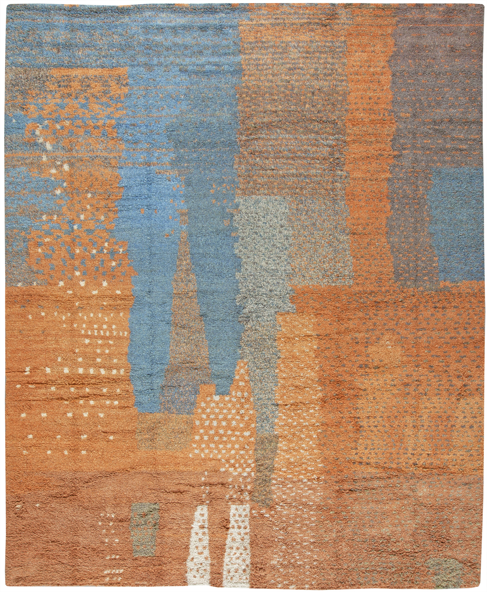 Handmade Moroccan Gy Wool Rug With