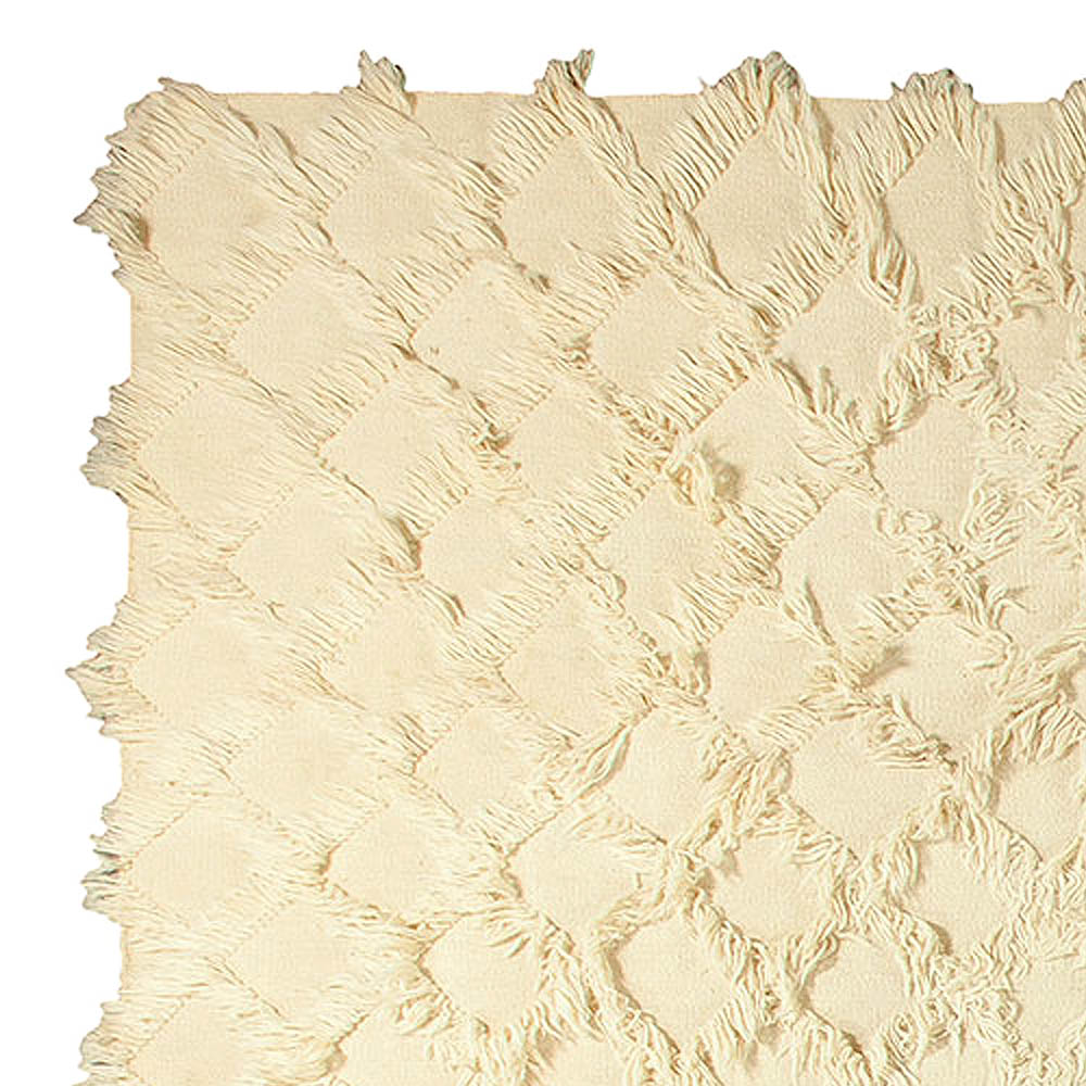 Contemporary Tulu Off-White Hand Knotted Wool Rug N10747