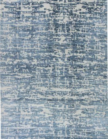 Greek Key Contemporary Geometric Beige & Gray & Silk Carpet N11798