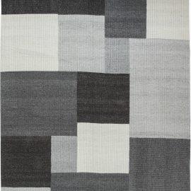 Modern Geometric Gray, White and Black Flat-Woven Wool Carpet N11587