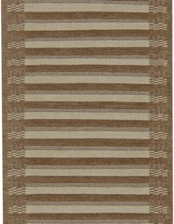 Contemporary Tabriz Design Brown and Beige Hand Knotted Wool Runner N11183
