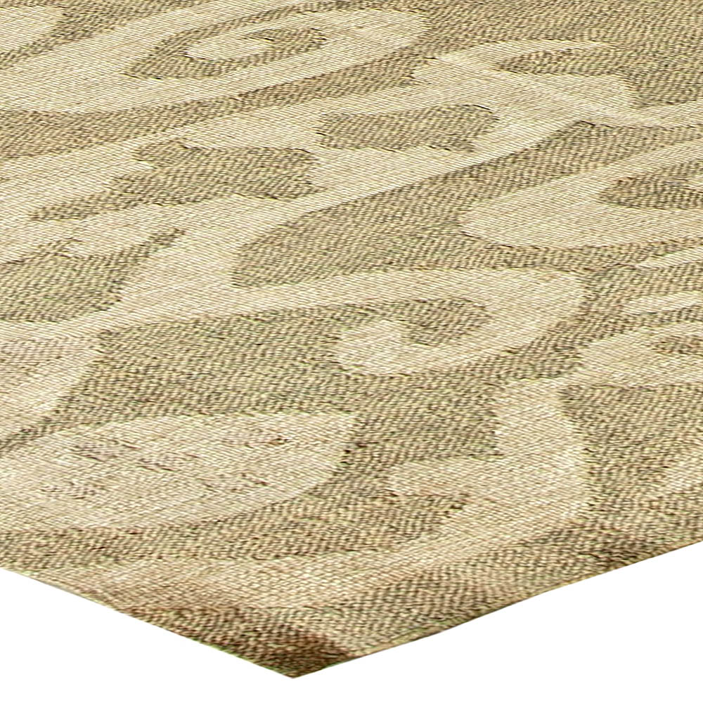 Contemporary Sandy Beige and Light Gray Flat-Woven Wool Kilim Rug N11168