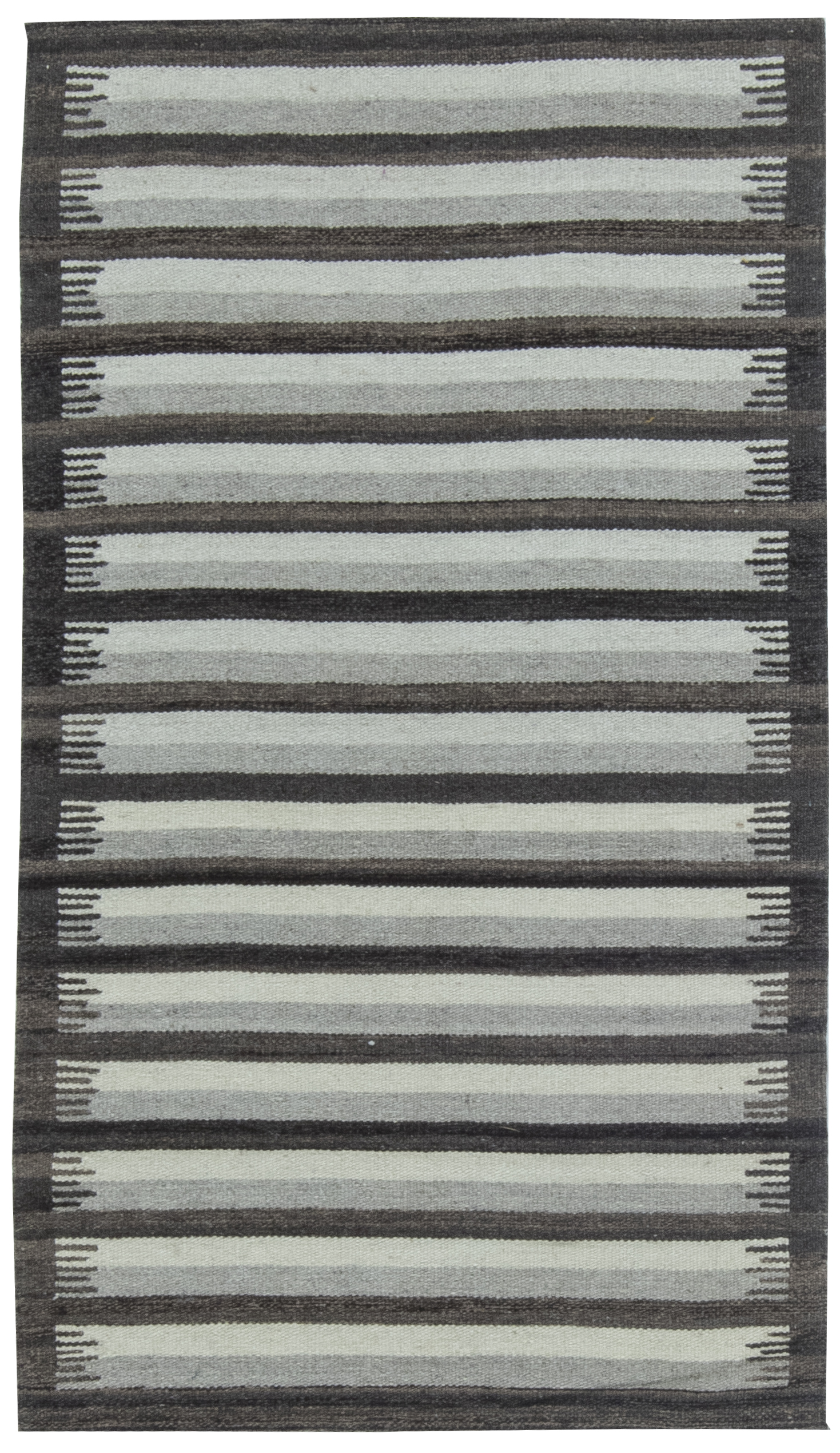 Contemporary Striped Gray and Anthracite Flat-Weave Cotton Rug N11516