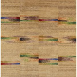 Contemporary Navajo-Sand Colorful Geometric Hand Knotted Wool Rug N10840