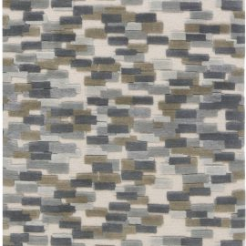 Contemporary Blue, White and Green Hand Knotted Wool Runner N11739