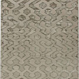 Contemporary Silver with Matte Gray Hand-knotted Wool Rug N10931