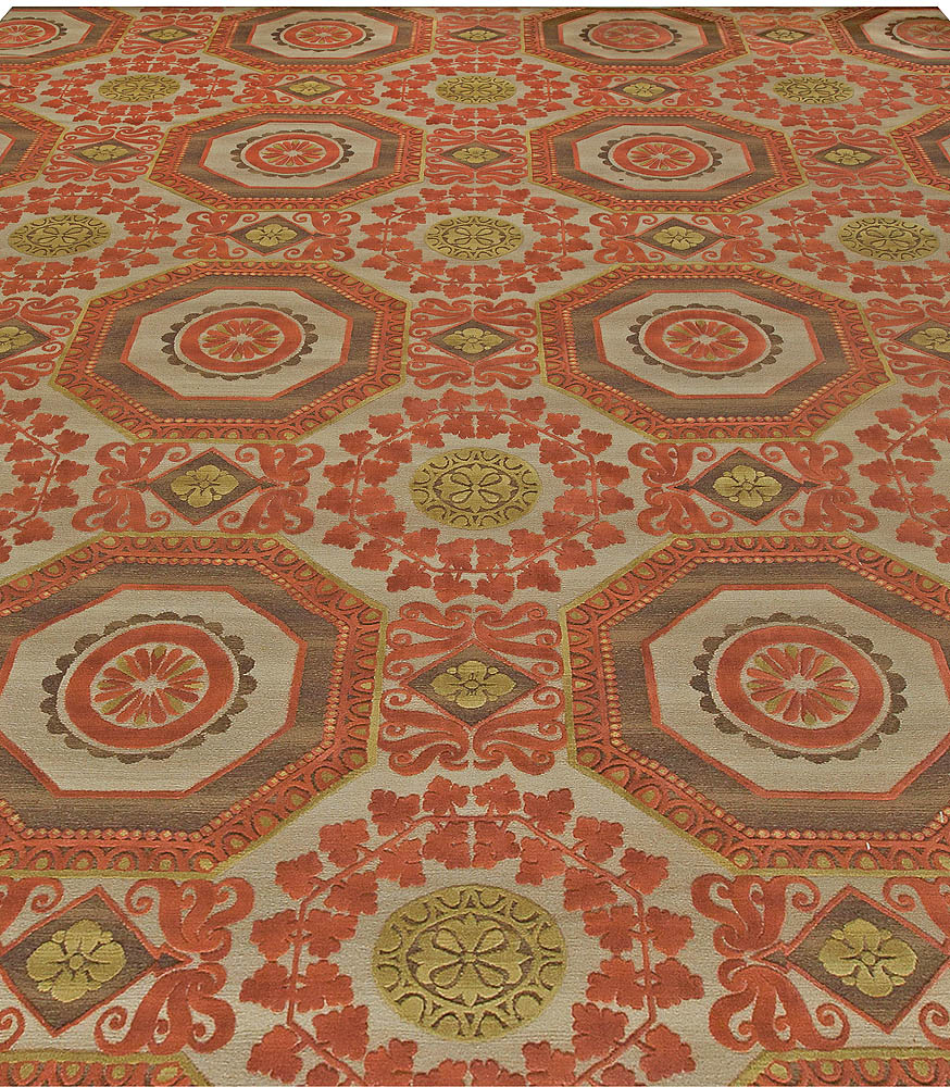 """Oversized """"Insolite"""" Coral Red, Brown Green and Gray Wool Rug N11088"""