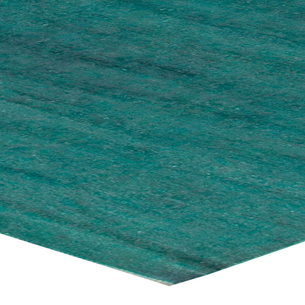 Turquoise Silk Rug with Distressed Look N11095