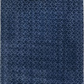 Contemporary Navy Blue Handcrafted Pashmina Euro Rug N11558