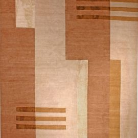 11A Tibetan Art Deco Design Rug in Shades of Beige and Brown N11010