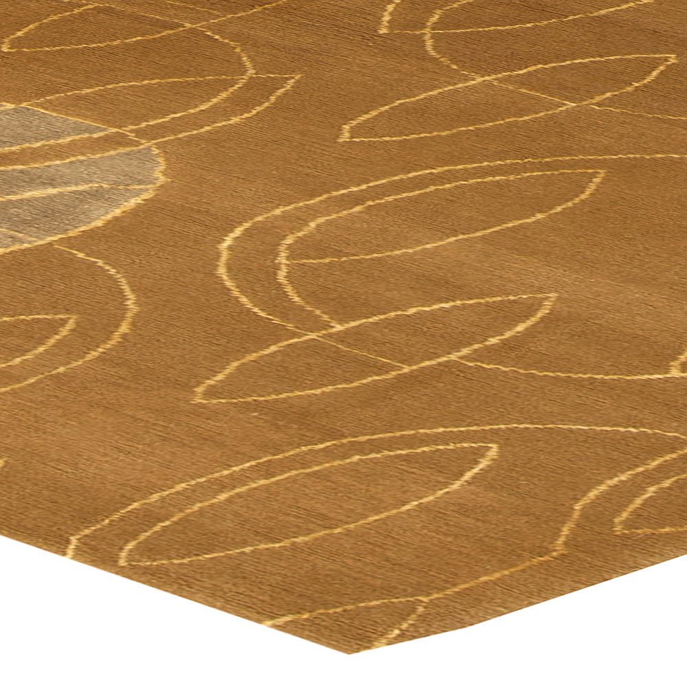 Contemporary Warm Brown and Gray Hand Knotted Wool Rug N11318
