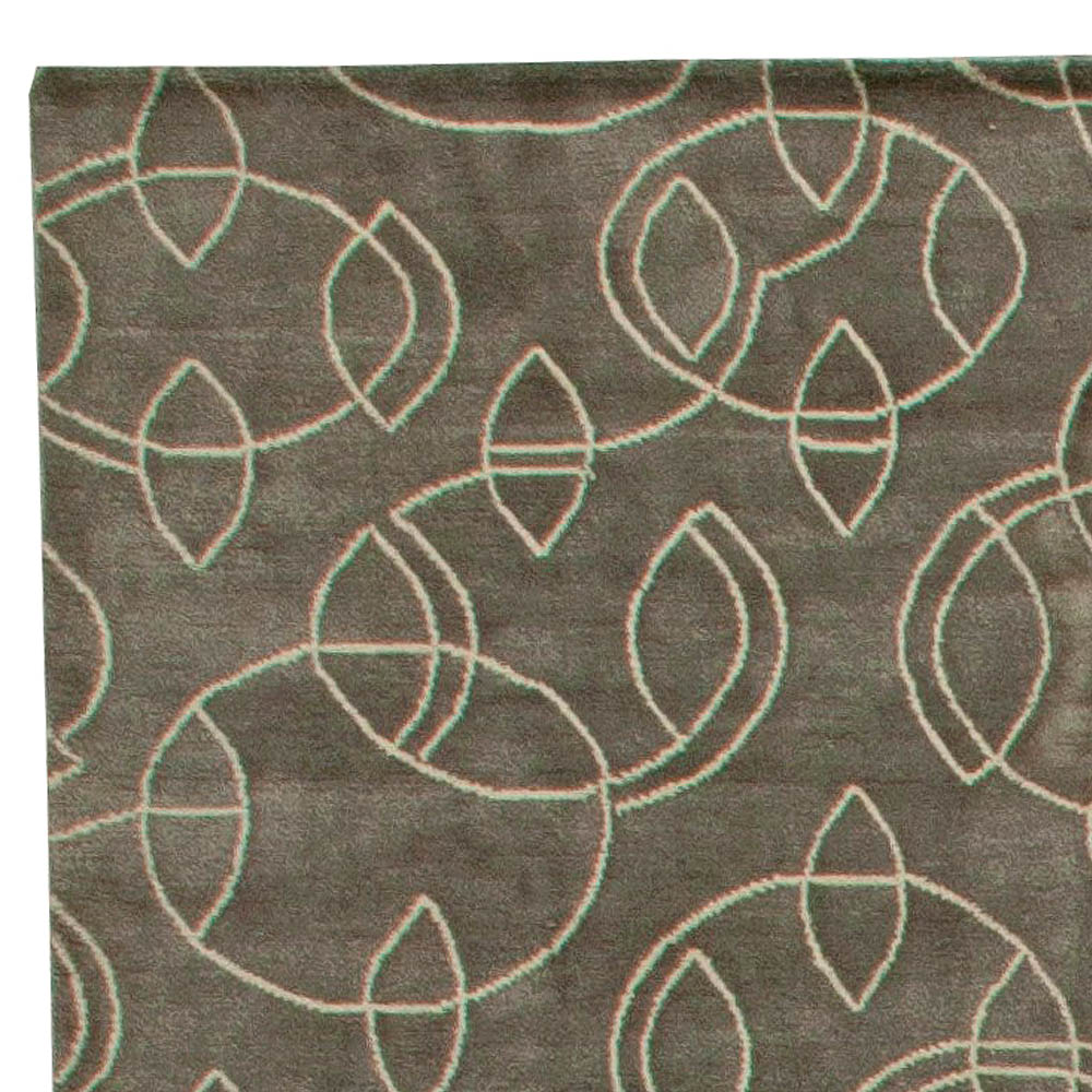 Art Deco Design Taupe & Beige Hand Knotted Wool & Silk Rug N11084