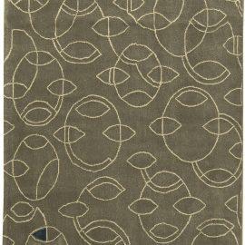 Contemporary Art Deco Design Gray and Indigo Runner N11324