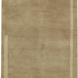 Contemporary Sandy Beige and Brown Hand Knotted Wool and Silk Runner N11289