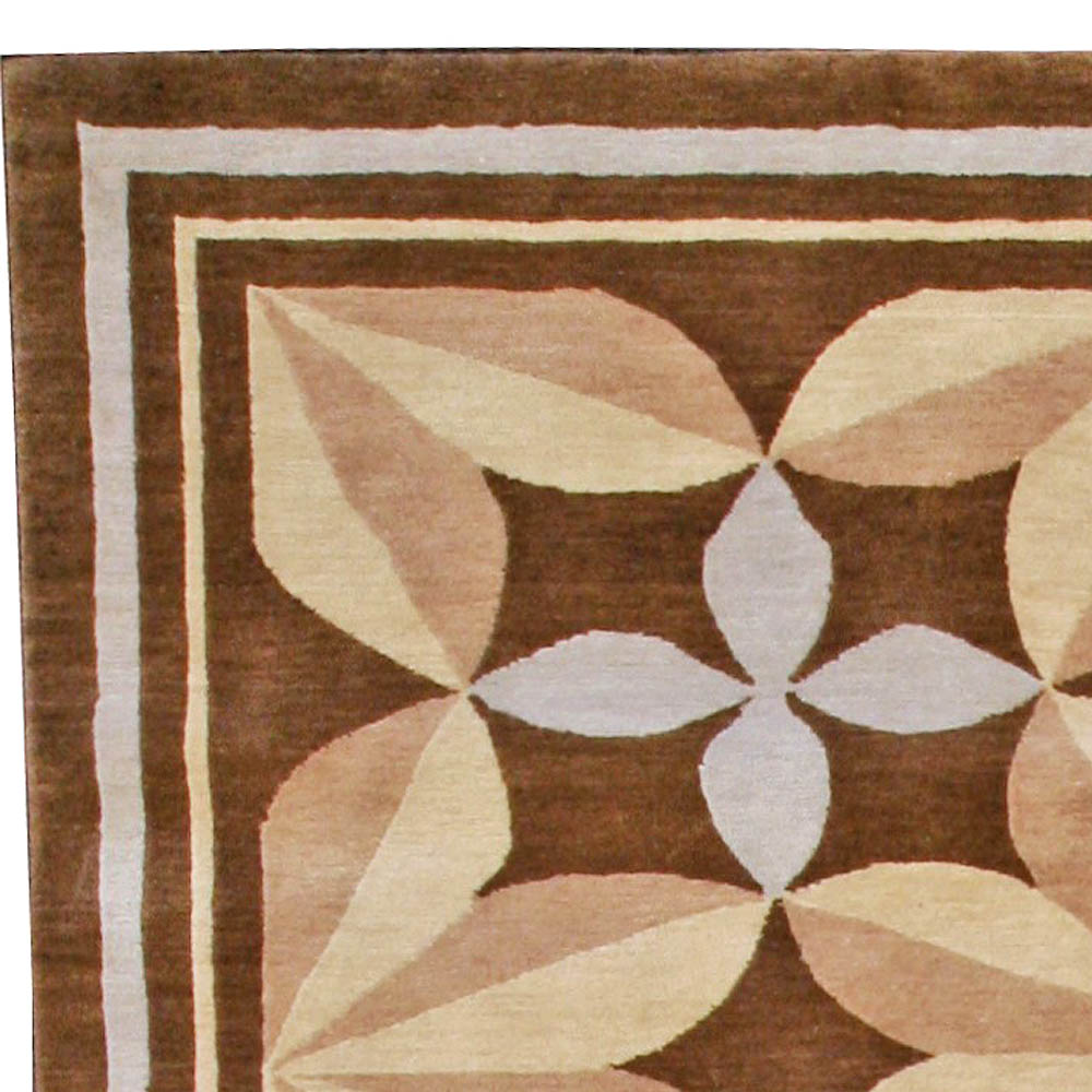 Modern Pinwheel Design Brown and Beige Hand Knotted Wool Rug N10956