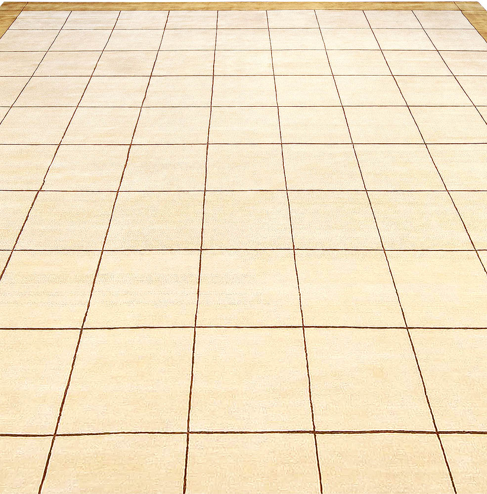 Silk Rug with Geometric Design, Beige, Light Brown and Off-White Rug N10969