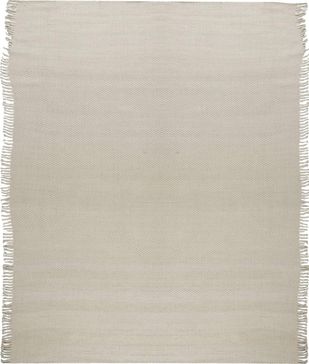 Modern Solid Beige Flat-Weave Wool Rug N11723