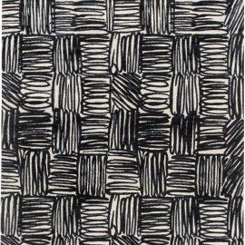 Contemporary Ecriture Black & Off-white Handmade Silk & Wool Rug N11406