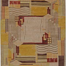 Tibetan Geometric Rug in White, Beige, Taupe, Mauve and Yellow N11005