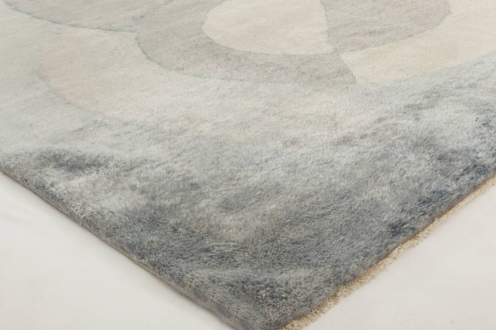 Contemporary Celestial Mohair Silver Gray and Pale Blue Rug N11573