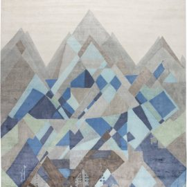 Everest Design Hand Knotted Silk Rug in White, Blue and Gray N11688