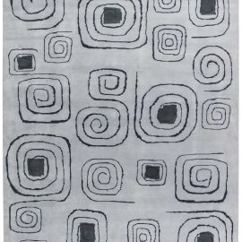 Olga Fisch Art Deco Inspired Pencil-Lined Gray and Black Rug N11408