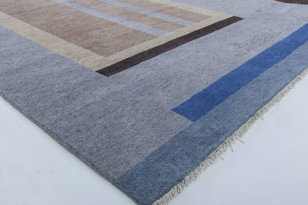Modern Art Deco Designed Pale Brown and Blue Hand Knotted Rug N11432