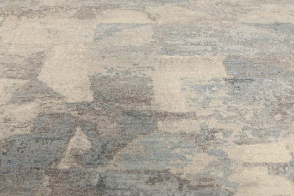 Contemporary Art Deco Design in Shades of Blue and Gray Wool Rug N11579
