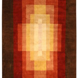 Contemporary Wool and Silk S13b 01 Brown, Red, Orange and Yellow Rug N03395
