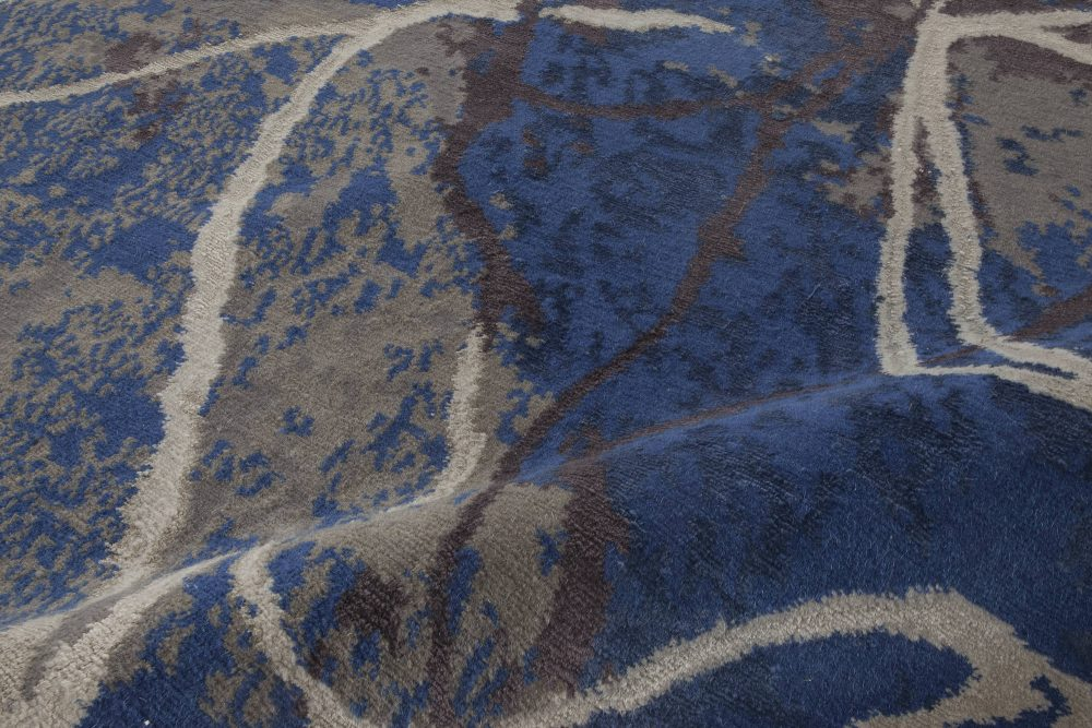 Contemporary Indigo and Brown Hand-Spun Wool and Silk Rug N11660