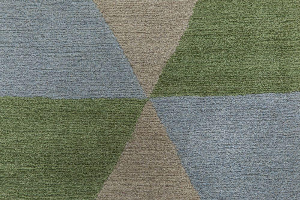 Tibetan Green, Blue & Burgundy Handmade Wool Rug by Sheila Bridges N11525
