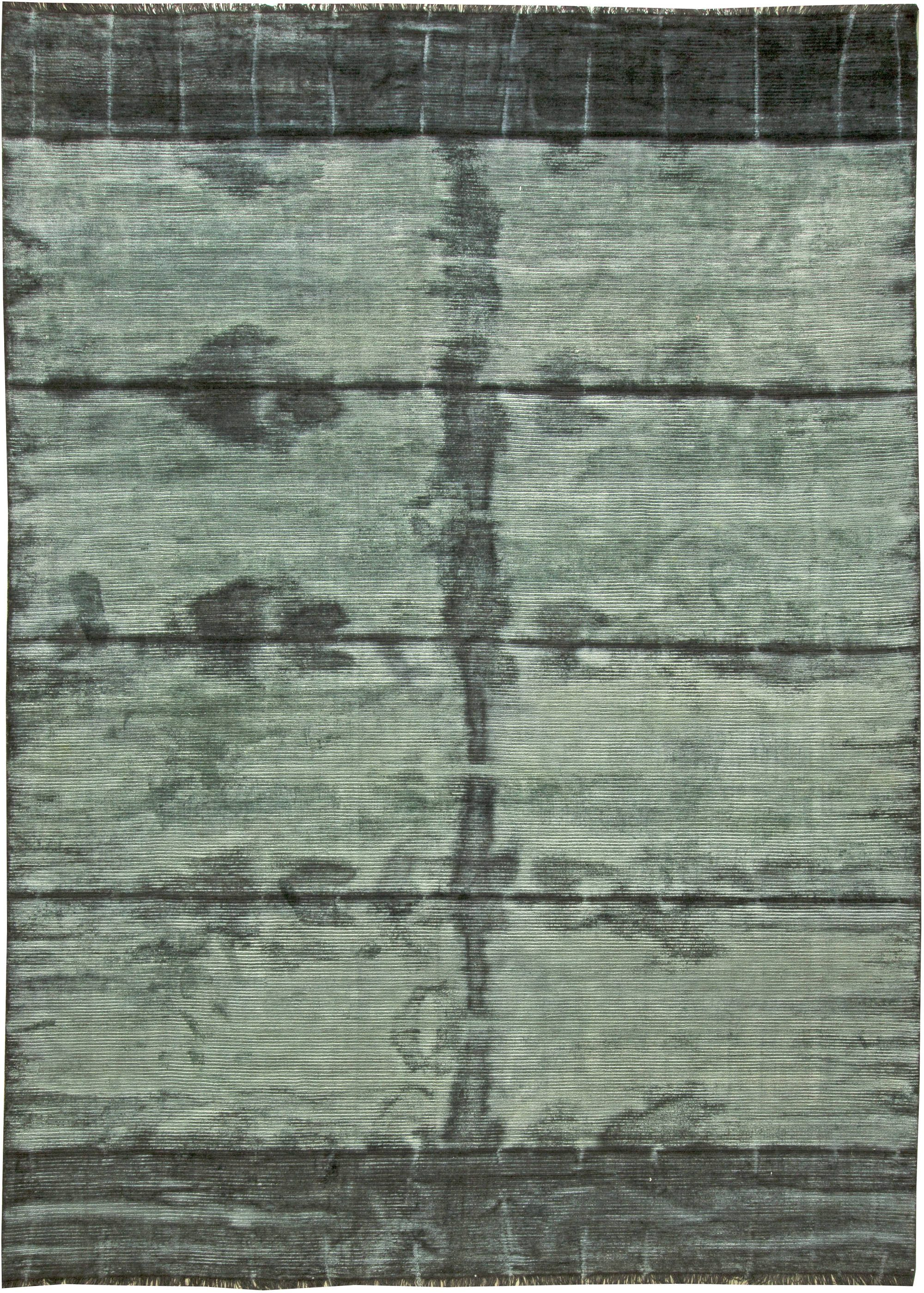 Teal Tie Dye Modern Rug N11301 By Dlb