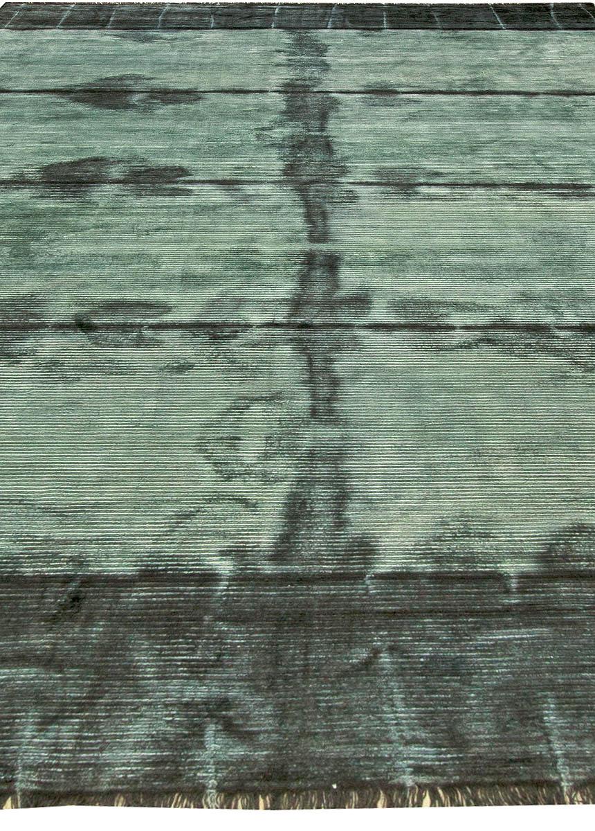 Teal Tie Dye Modern Rug N11301