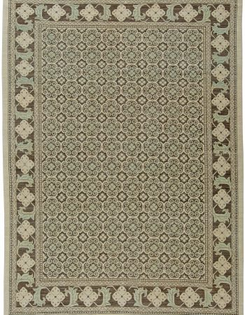 Traditional Oriental Inspired Blue, Salmon Pink and Beige Wool Rug N11352