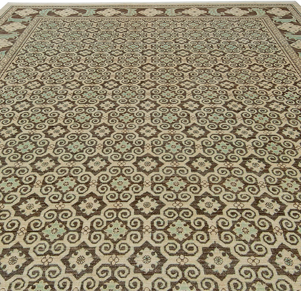 Tabriz Style Brown and Light Beige Handwoven Wool Rug N10831