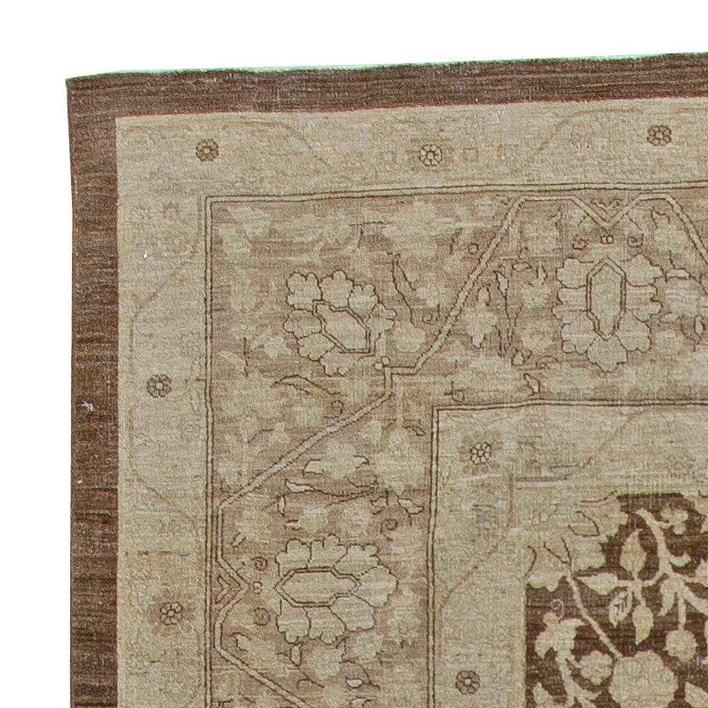 Contemporary Tabriz Beige and Brown Hand Knotted Wool Rug N10829