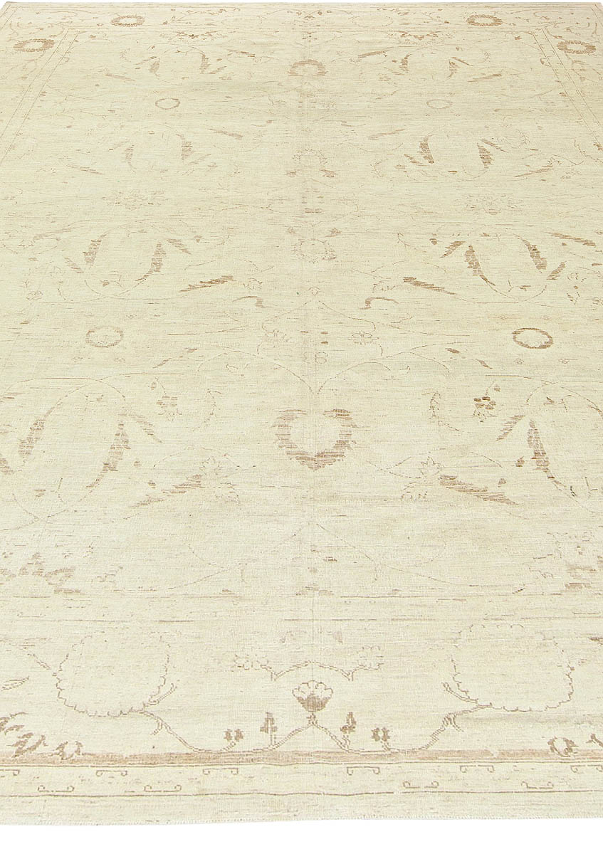 Contemporary Tabriz Beige Hand Knotted Wool Rug N10741