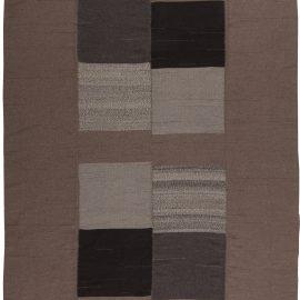 Turkish Modernist Taupe, Gray and Black Kilim Wool Rug N10856