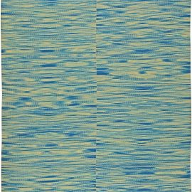 Contemporary Blue and White Flat-Woven Wool Kilim Rug N11173