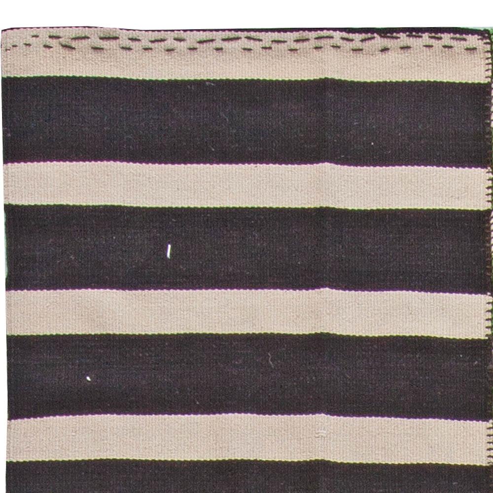 Turkish Modernist Striped Green, Black and Off-White Wool Kilim Rug N10854