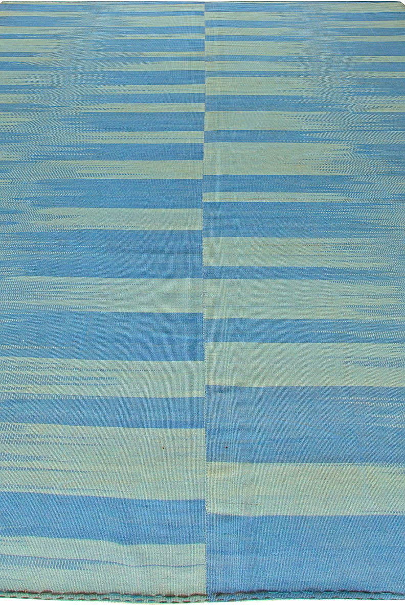 Contemporary Blue Hand Knotted Wool Kilim Rug N11175