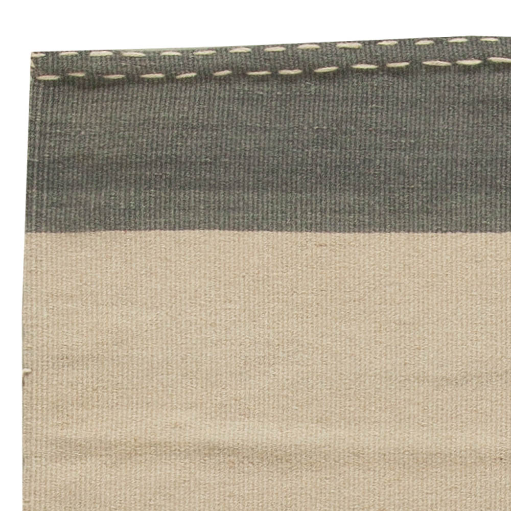 Turkish Modernist Gray and Beige Hand Knotted Wool Kilim Rug N10859