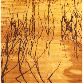 Contemporary Water Dance Hand Knotted Wool Gold and Brown Rug N10838