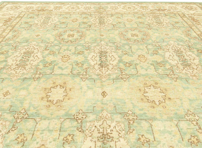Traditional Oriental Inspired Beige, Brown and Aquamarine Wool Rug N11272