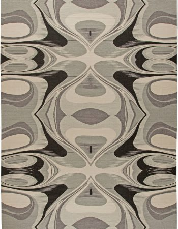 Contemporary Ombre Blue Hand Knotted Wool and Metal Rug N10685