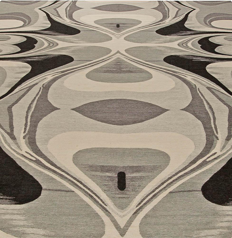 Modern Cyclone Gray and Beige Flat-Weave Rug N10897