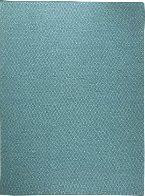 Turquoise Viscose Flatweave Rug with Geometric Pattern N11308