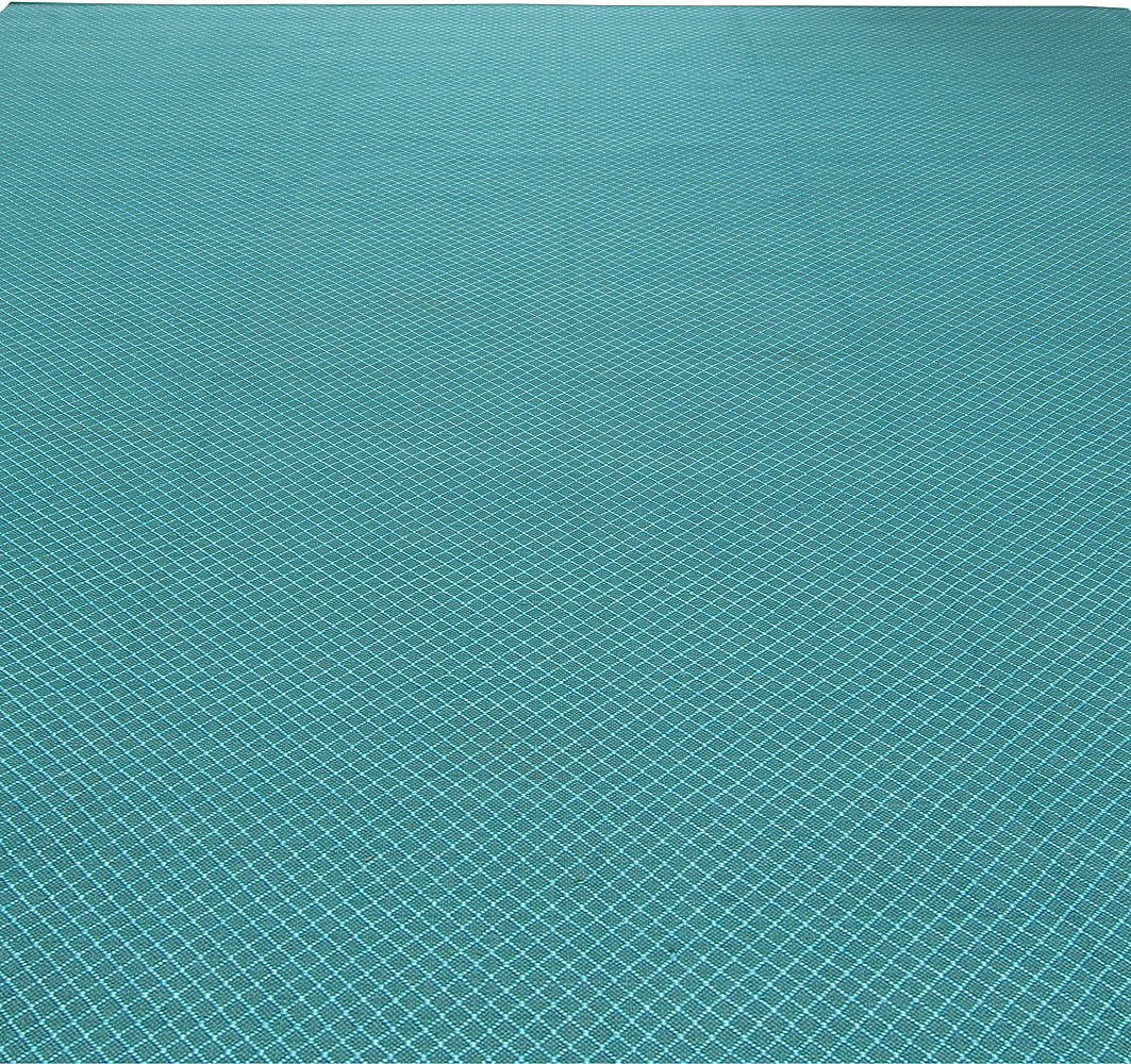 Turquoise Viscose Flatweave Rug with Geometric Pattern N11308